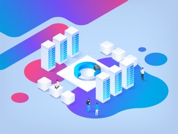 Abstract isometric illustration. High technology concept. Data center. Cryptocurrency market. Platform creation of digital currency.
