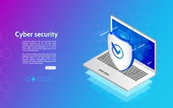 Abstract isometric personal data protection. Header for website with laptop and protection shield. 3D Cyber security technology mechanism concept.