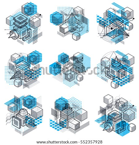 Abstract isometrics backgrounds, 3d vector layout. Compositions of cubes, hexagons, squares, rectangles and different abstract elements. Vector collection.