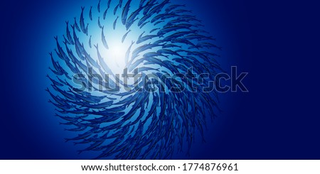 Abstract jamb fishes underwater sea ecosystem. Large group of fish on blue background and sun. Banner alive fish in freedom . Vector illustration.