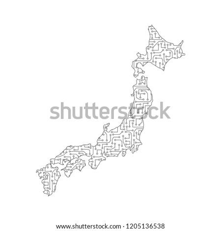 Japan city map tag cloud concept print … Stock Photo