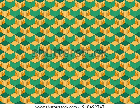 Abstract. japanese seamless pattern green and yellow background. design for pillow, print, fashion, clothing, fabric, gift wrap, mask face. Vector. Stock photo ©