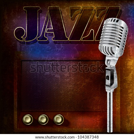 abstract jazz background with retro microphone and radio