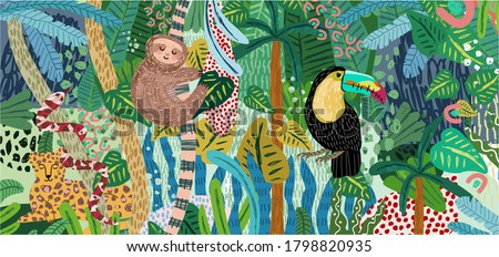 Abstract jungle background! Vector illustrations of animals (sloth, snake, leopard, parrot toucan), leaves, spots, objects and textures. Hand-drawn art for poster or card