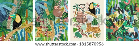 Abstract jungle! Vector illustrations of animals (sloth, snake, leopard, parrot toucan), leaves, spots, objects and textures. Hand-drawn art for poster, card or background