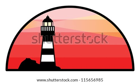 Abstract label with lighthouse, vector illustration