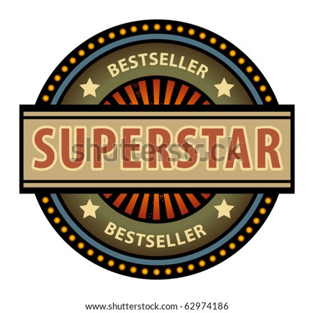 Abstract label with the word Superstar, vector illustration
