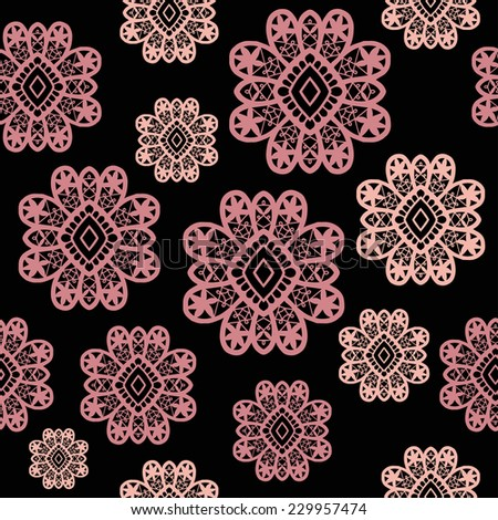 Abstract lace flower background, seamless pattern, hand drawn ornament, vector illustration