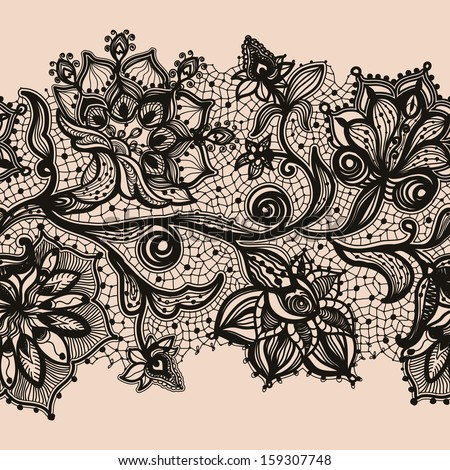 Abstract lace ribbon seamless pattern with elements flowers Template frame design for card Lace Doily Can be used for packaging invitations and template