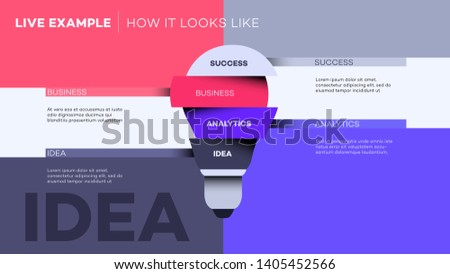 Abstract Lamp. Vector Infographic Template For Business Presentations, Brochure, Layout. Abstract Visualisation Of 4 Steps Process