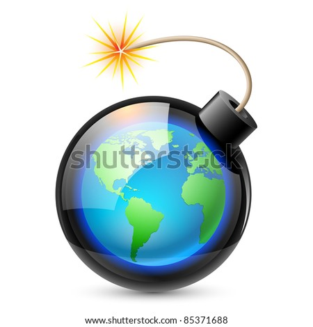 Abstract land shaped like a bomb. Illustration on white background for design