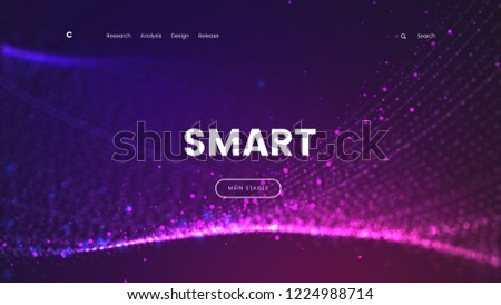 Abstract landing page template with a glowing purple particles background - Smart, can be used for can be used for business, internet technology and futuristic web interface. Vector illustration