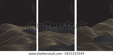Abstract landscape background with line pattern vector. Japanese wave template in oriental style.