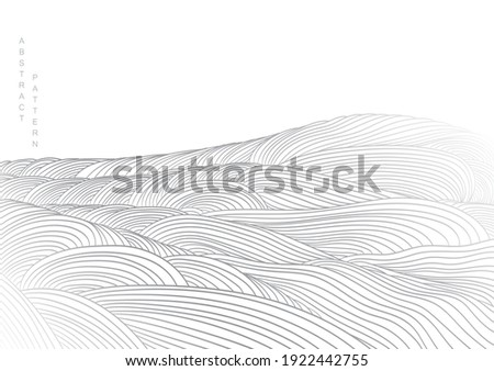 Abstract landscape background with white and grey line pattern vector. Mountain forest art with natural art template. Banner design and wallpaper in vintage style.