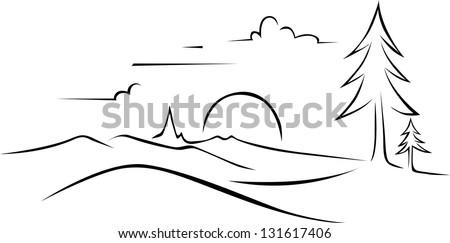 abstract landscape drawing - black outlineMountain Landscape Outline