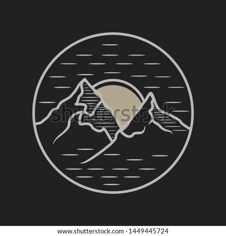 Abstract landscape mountain in nigh view on the black background. Landscape mountain emblem for your best business symbol. Vector illustration EPS.8 EPS.10