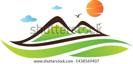 Abstract Landscape mountain with color green on the white background. Vector landscape for element design. Vector illustration EPS.8 EPS.10