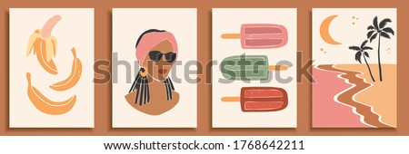 Abstract landscape poster collection. Set of contemporary art print templates. Nature backgrounds for your social media. Abstract female shapes and silhouettes in swimsuits on retro summer background.