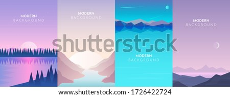Abstract landscape set, Vector banners set with polygonal landscape illustration, Minimalist style, Abstract image of a sunset or dawn sun over the mountains at the background and river or lake