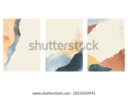 Abstract landscape template with Japanese wave pattern vector in oriental style. Watercolor texture with wallpaper background.