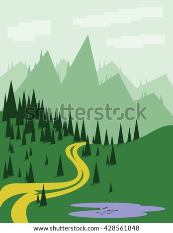 abstract landscape with pine