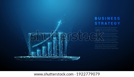 Abstract laptop with graph growing up. Low poly style design.  Business strategy concept. Blue geometric background. Wireframe light connection structure. Modern 3d graphic. Vector illustration. Photo stock ©