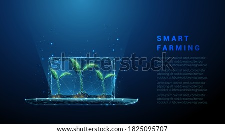 Abstract laptop with green plants. Smart farming concept. Low poly style design. Blue geometric background. Wireframe light connection structure. Modern 3d graphic. Isolated vector illustration.