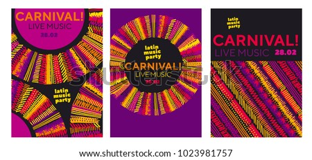 Abstract latin  music carnival poster. Tropical color sketch-style striped pattern for party poster, invitation, cover. Stock vector illustration.