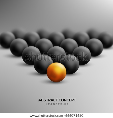 Abstract leadership concept with gold ball leading black ones. Vector illustration. Business teamwork and success concept