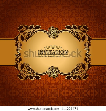 Abstract leaf background, exclusive, creative ornament, ornate, baroque, luxury, vintage, royal gold frame, banner, floral invitation card, antique style pattern template for design