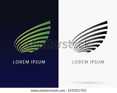 Abstract Leaf, designed using green line curve, logo, symbol, icon, graphic, vector.