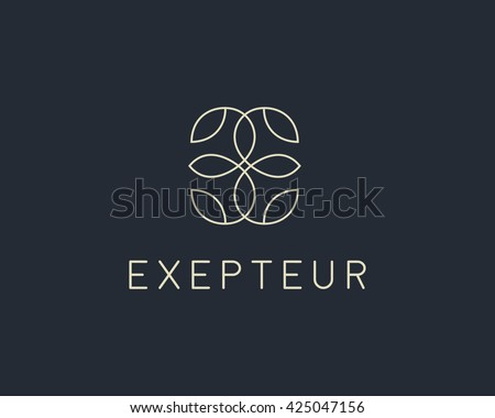 Abstract leaf flower logo icon vector design. Universal creative premium symbol. Graceful fashion boutique vector sign.