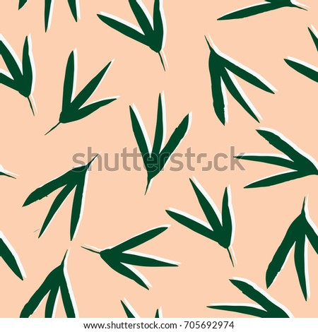 Abstract leaves pattern. Seamless vector background with green foliage