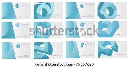 Abstract Letter A B C D E F alphabet logo symbol icon business card set EPS 8 vector, grouped for easy editing. No open shapes or paths.