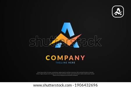 Abstract letter A logo. Dynamic unusual font. Universal fast speed fire moving quick energy icon. Flash vector logotype. Rapid thunderbolt superhero t shirt print, apparel fashion tee symbol.