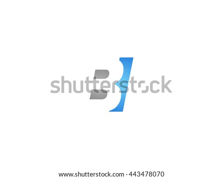 Abstract letter BI. lovely logo design template. BI Vector letter logo with grey and blue color. Foto stock ©