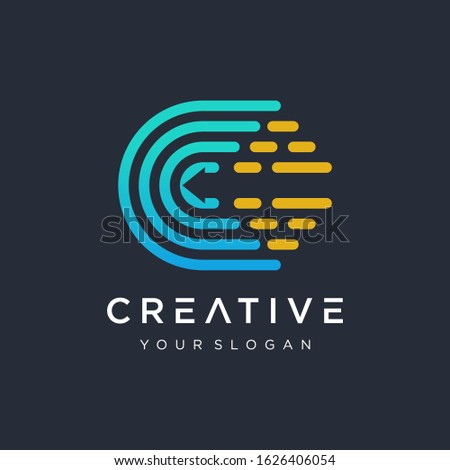 Abstract letter C logo design template,fast speed fire moving,quick energy sign. Minimal line font style C Letter Logo in colorful stroke for personal and corporate identity. Creative minimalism logot