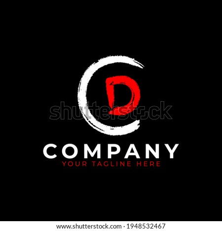 Abstract Letter D grungy font Brush Stroke Logo symbol. Usable for Business and Branding Logos. Flat Vector Logo Design Ideas Template Element. Eps10 Vector Photo stock ©