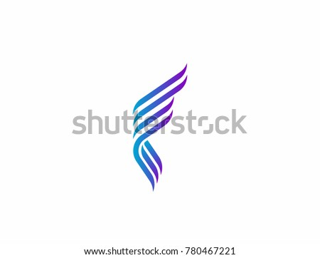 abstract letter f as wing