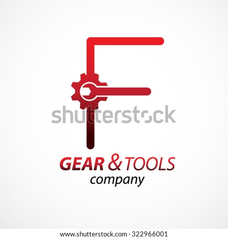 Abstract letter F logo Gear and wrench industrial service logo template icon vector design,Corporate logotype for production or service and maintenance business. Network computers application Foto stock ©