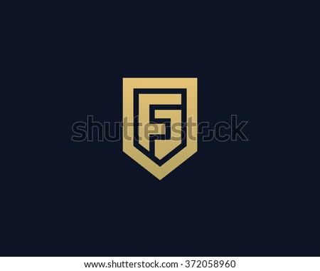 Abstract letter F shield logo design template. Premium nominal monogram business sign. Universal foundation vector icon.
