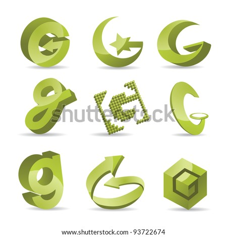 Abstract Letter G Symbol Icon Set EPS 8 vector, grouped for easy editing. No open shapes or paths.