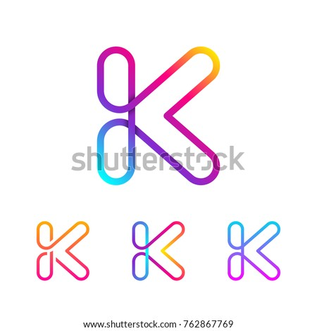 Abstract Letter K Line Monogram Colorful loops logotype, Circle shape, swirl spiral infinity logo symbol, Technology and digital connection
