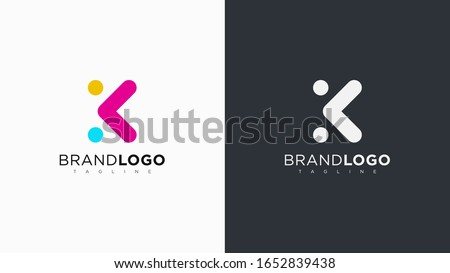 Abstract Letter K Logo Rounded Line with Dots. Flat Vector Logo Design Template Element. Stock fotó ©