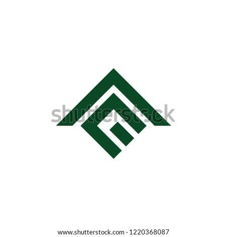 abstract letter m e arrow up logo vector Stok fotoğraf ©