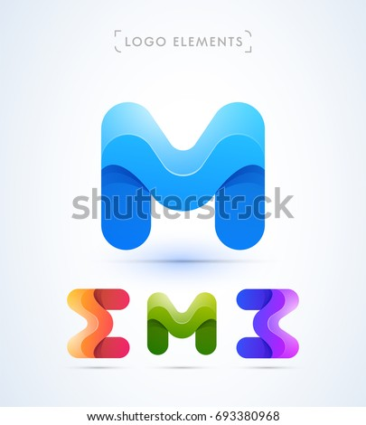 abstract letter m  e  b logo