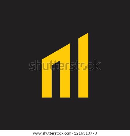 abstract letter m geometric bar chart concept logo Zdjęcia stock ©