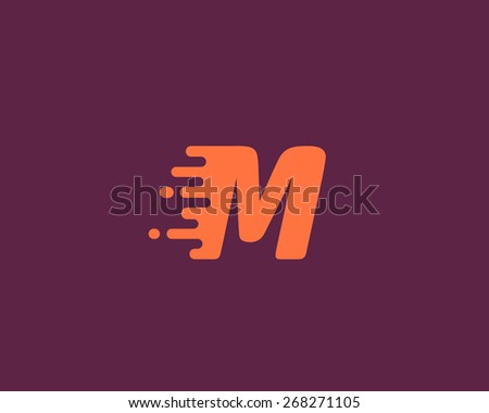 Abstract letter M logo design template.  Dynamic vector unusual font. Universal fast speed fire moving water quick energy drop icon.
