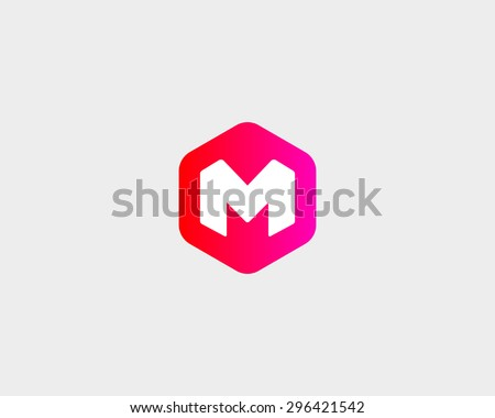 Abstract letter M W logo design template. Colorful hexagon creative sign. Universal vector icon.