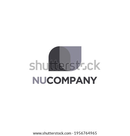 Abstract Letter N and U, NU, UN monogram logo vector icon on white background Foto stock ©